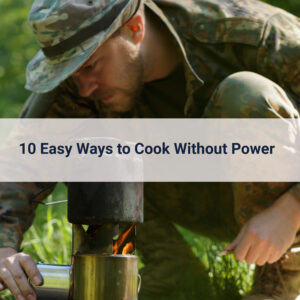 Man cooking survival food without electricity over a gas stove.