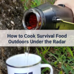 Pouring boiling water from a solar kettle into a cup to cook survival food