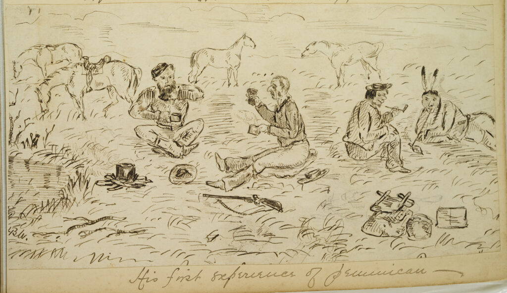 Native Americans and settlers trading Pemmican, the original survival food.