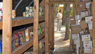 Emergency Food stockpiled in an outside shelter.