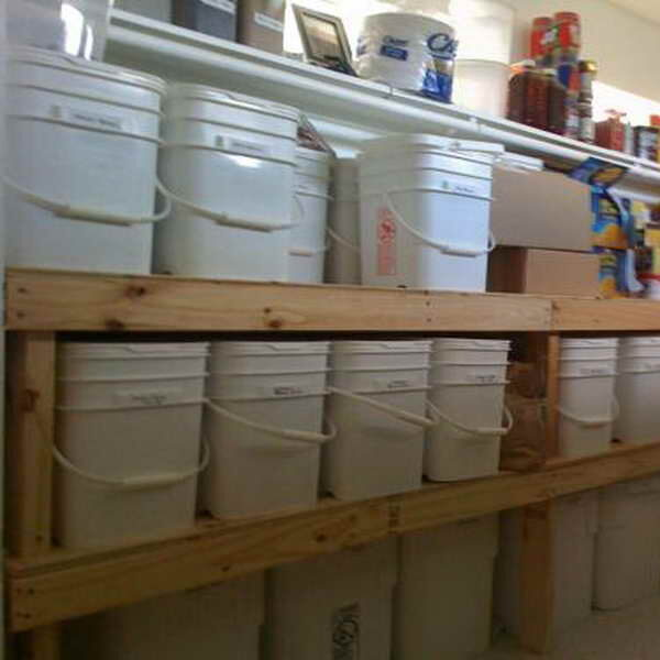 Emergency Food kits stored in a large pantry