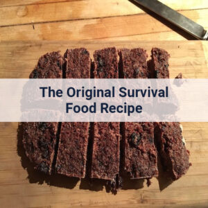 Homemade pemmican survival food freshly cut, sitting on a a cutting board