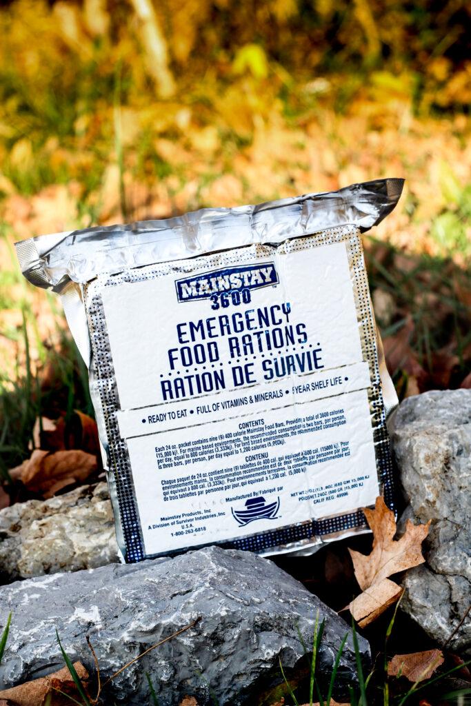 emergency food bars sitting on a rock outside