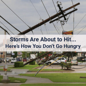 An emergency food review. Power poles were broken by high winds in Oklahoma City, Okla.