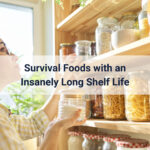 woman looking at jars of survival food on a shelf