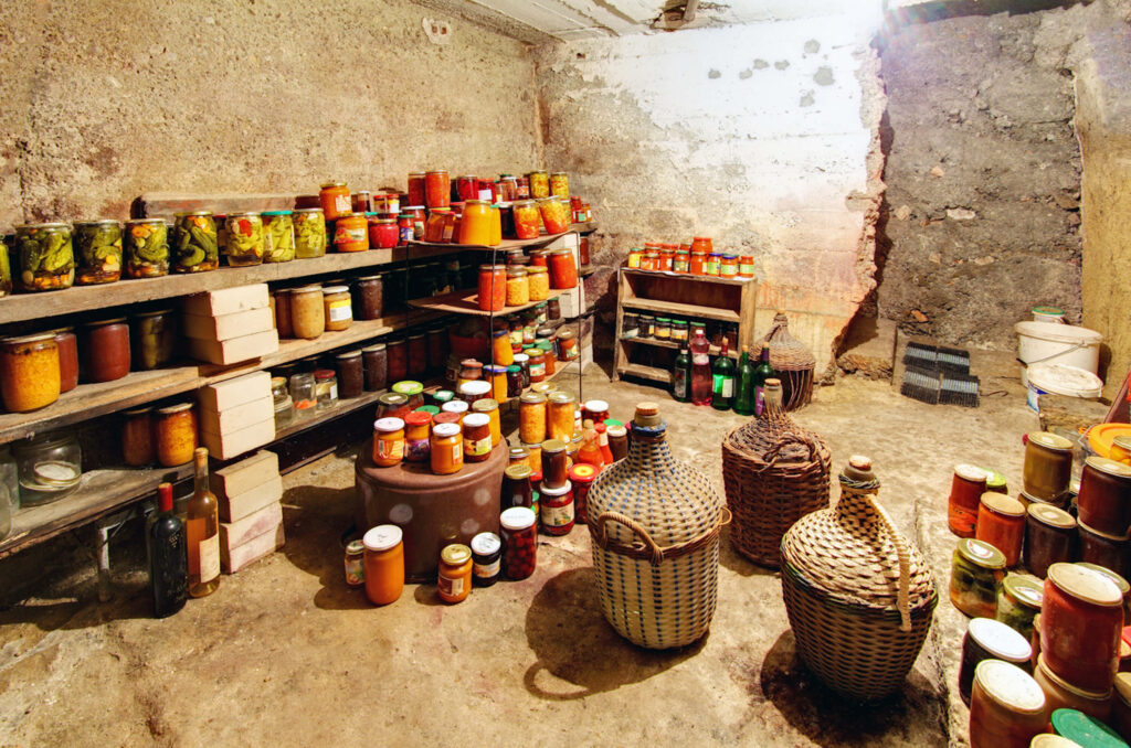 survival food stored in a cellar as a long-term food storage technique